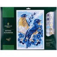 Картина по номерам «Весенние птицы» A3, картон.