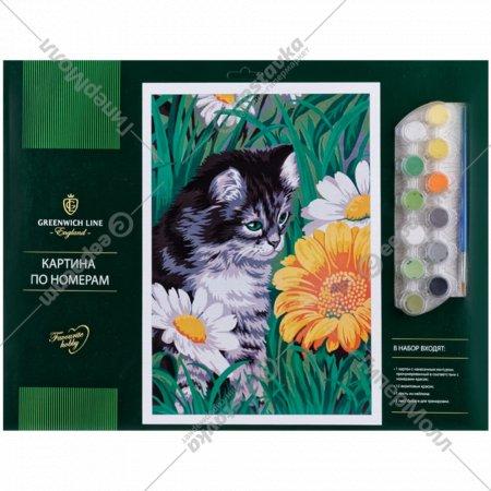 Картина по номерам «Котик в цветах».