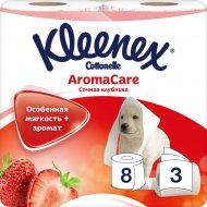 Туалетная бумага «Kleenex» сочная клубника, трехслойная, 8 рулонов.