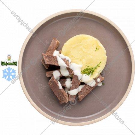 Язык в соусе с картофельным пюре замороженный 120/150  г.