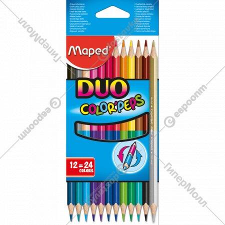 Карандаши цветные «DUO» 12 шт, 24 цв.