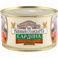 Сардина «Рыбный стандарт» совощным гарниром, в томатном соусе, 240 г.