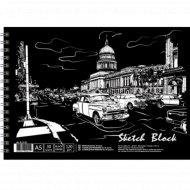 Альбом для эскизов А5, с черными листами, 30 л.