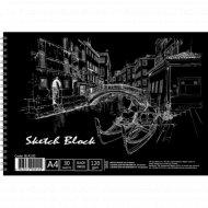 Альбом для эскизов А4, с черными листами, 30 л.