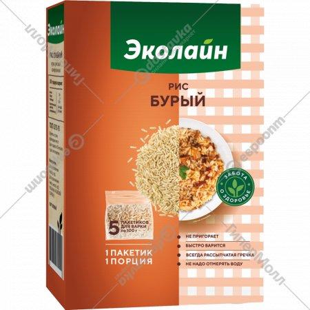 Крупа рисовая «Эколайн» бурая, 5х100 г.