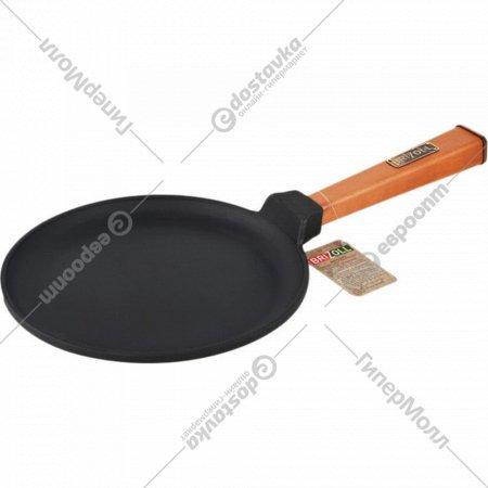 Сковорода-блинная чугунная c деревянной ручкой, 220х15 мм.