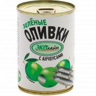 Оливки зелёные «Эколайн» c анчоусом, 280 г.