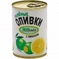 Оливки зелёные «Эколайн» c лимоном, 280 г.