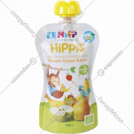 Пюре фруктовое «Hippis» яблоко-груша-банан, 100 г, 6+.