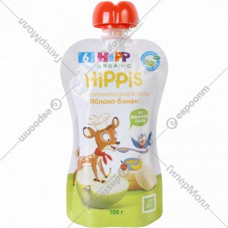 Пюре фруктовое «Hippis» яблоко-банан, 100 г, 6+.