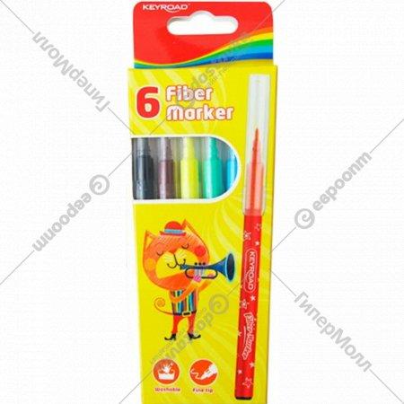 Фломастеры «Keyroad» fiber marker, KR971588, 6 цветов.
