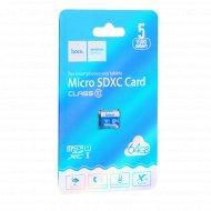 Карта памяти «Hoco» microSDXC, 64GB, class 10.