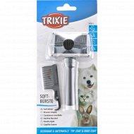 Мягкая щетка-пуходерка + гребешок «Trixie» для ухода за шерстью, 6x13 см.