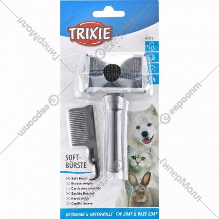Мягкая щетка-пуходерка+гребешок «Trixie» для ухода за шерстью,6x13см.