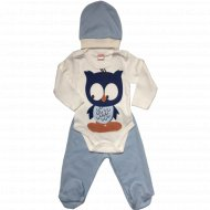 Комплект детский для мальчиков (боди, ползунки, шапочка).