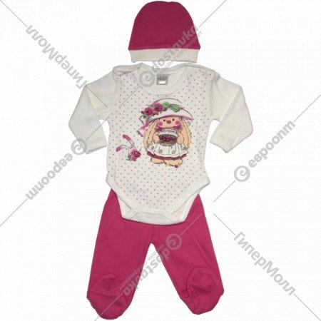 Комплект детский для девочек (боди, ползунки, шапочка).