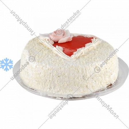 Торт бисквитный «Клубника со сливками» замороженный, 1 кг.