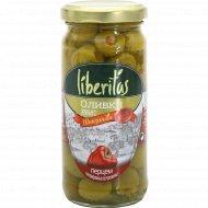 Оливки зеленые «Liberitas» с перцем, 240 г.