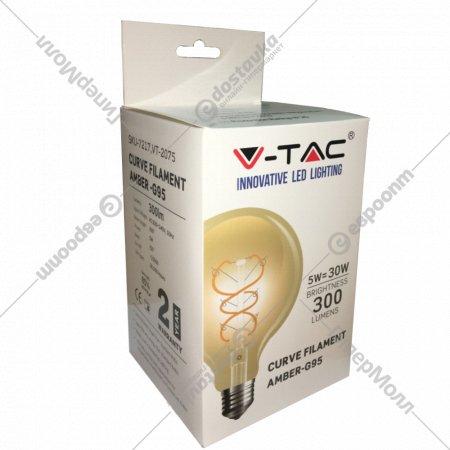 Лампа филаментная «V-TAC» янтарная, 5W 300LM G95 Е27 2200K.