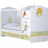 Кровать «Polini Kids» Basic Джунгли, белый/оранжевый
