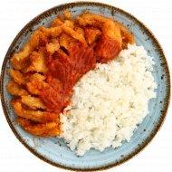 Лосось атлантический ломтики жареный с рисом и соусом «Кимчи», 260 г.