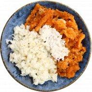 Лосось атлантический ломтики жареный с рисом и белым соусом, 260 г.
