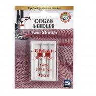 Иглы двойные «Organ» 2-75/2,5 супер стрейч Blister.