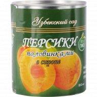 Персики «Узбекский сад» половинками в сиропе, 850 мл