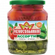 Ассорти маринованные «Разносольников» томаты и огурцы, 680 г