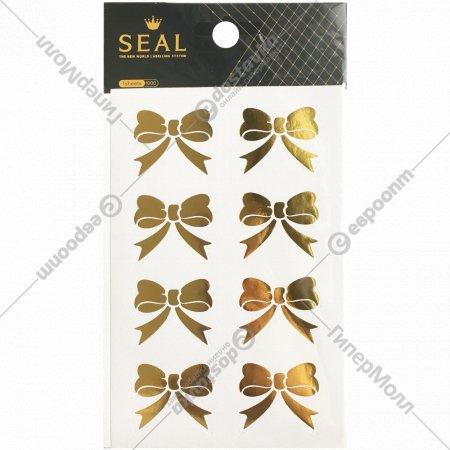Стикеры декоративные для скрапбукинга, бантики золотые.
