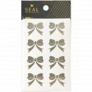 Стикеры декоративные для скрапбукинга, бантики серебряные.