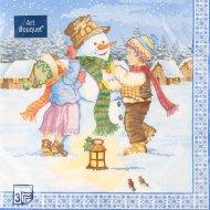 Салфетки бумажные «Art Bouquet» дети и снеговик, 33х33 см, 20 листов.