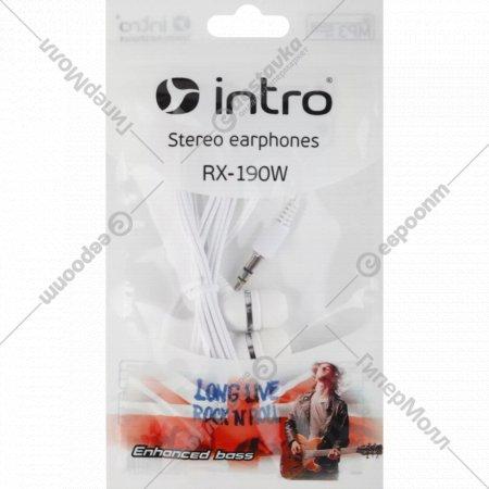 Наушники внутриканальные «Intro» RX-190 белые.