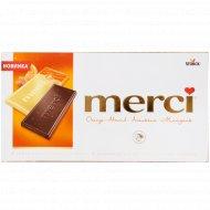Шоколад горький «Merci» с соком апельсина и кусочками миндаля, 100 г.