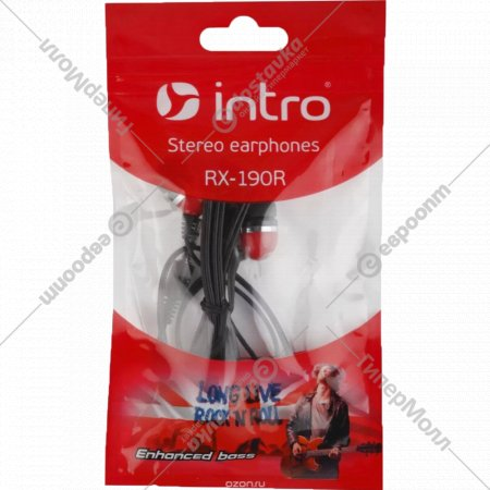 Наушники внутриканальные «Intro» RX-190 красные.