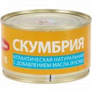 Скумбрия натуральная «РыбаХит» с добавление масла, 240 г.