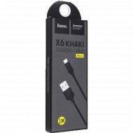 Дата-кабель «Hoco» X6 Khaki MicroUSB, 1.0 м, черный.