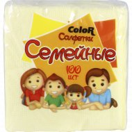 Салфетки бумажные «Семейные» Color, в ассортименте, 100 шт.