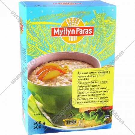 Хлопья овсяные «Myllyn Paras» с отрубями, 500 г.