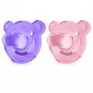 Пустышка «Мишка», 0-3 мес., 2 шт., для девочек