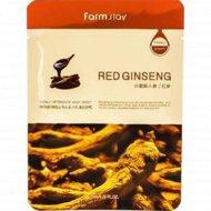 Тканевая маска для лица «FarmStay» с экстрактом корня красного женьшеня, 23 мл.