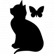 Меловая наклейка «Кошка с бабочкой».