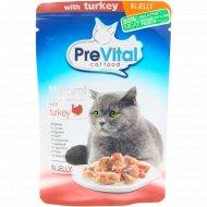 Корм для кошек «PreVital Naturel» с индейкой в желе, 85 г.