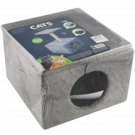 Домик для кота с когтеточкой и игрушкой, 30х30х53 см.