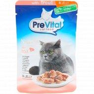 Корм для кошек «PreVital Naturel» с форелью в желе, 85 г.