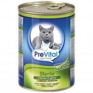 Консерва «PreVital» для кошек с птицей в соусе, 415 г.