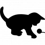 Меловая наклейка «Котенок с клубком».