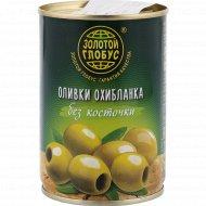 Оливки зеленые «Золотой глобус» охибланка, без косточки, 280 г.