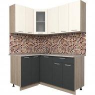 Готовая кухня «Интерлиния» Мила 12х16, вудлайн кремовый/антрацит