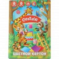 Цветной картон «Creativiki» А5, 8 листов, 8 цветов.